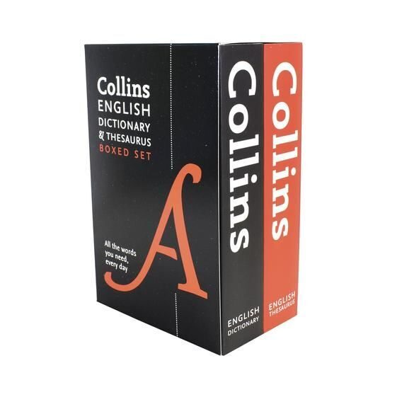 5P84  English Dictionary and Thesaurus 2 Books Box Set, Collins