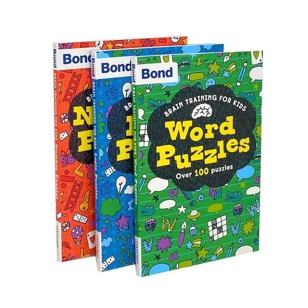 4P25 Bond Puzzle Brain Training For Kids 3 Books Collection Set Word, Number, Logic