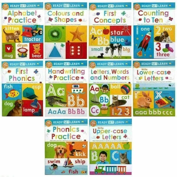 4P34 Ready Set Learn 10 Early Learning Wipe Clean Books Set Collection Colours Shapes Numbers Phonics Handwriting