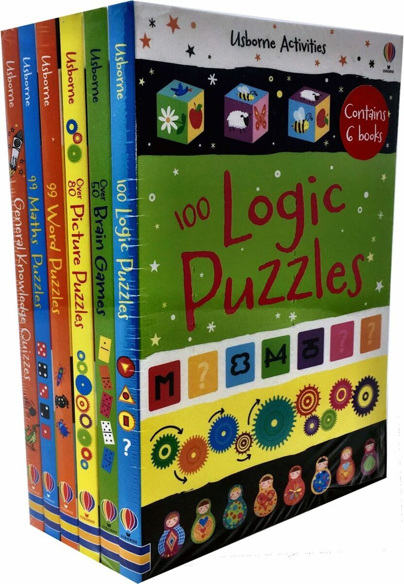 4P60 Usborne Puzzles Activity Collection 6 Books Set Pack Maths, Word, Brain Games